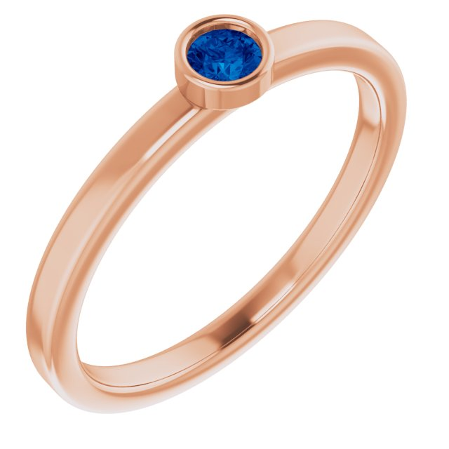 Genuine Chatham Created Sapphire Ring in 14 Karat Rose Gold 3 mm Round Chatham Lab-Created Genuine Sapphire Ring