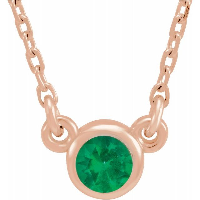 Chatham Created Emerald Pendant in 14 Karat Rose Gold 3 mm Round Chatham Lab-Created Emerald Bezel-Set Solitaire 16