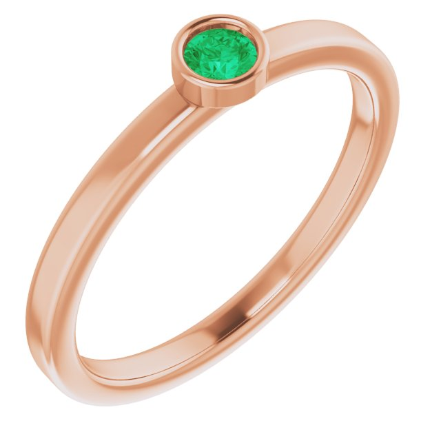 Genuine Chatham Created Emerald Ring in 14 Karat Rose Gold 3 mm Round Chatham Lab-Created Emerald Ring