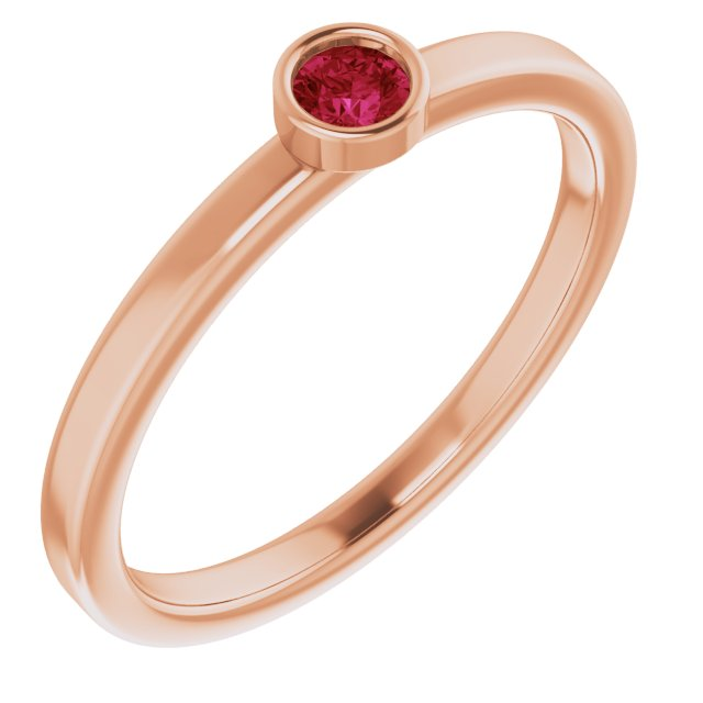 Chatham Created Ruby Ring in 14 Karat Rose Gold 3 mm Round Chatham Lab-Created Ruby Ring