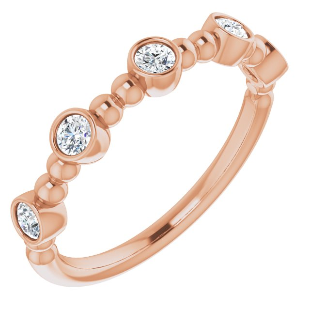 White Diamond Ring in 14 Karat Rose Gold .33 Carat Diamond Stackable Ring