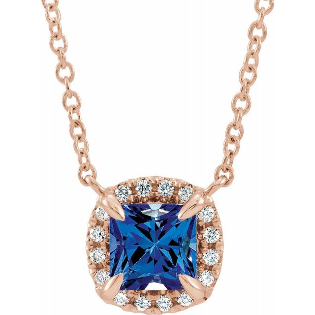 Genuine Sapphire Necklace in 14 Karat Rose Gold 3x3 mm Square Genuine Sapphire & .05 Carat Diamond 18