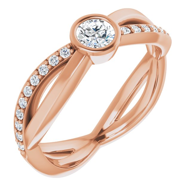White Diamond Ring in 14 Karat Rose Gold 4.1 mm Round 3/8 Carat Diamond Infinity-Inspired Ring