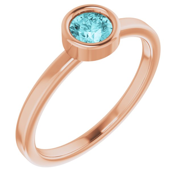 Genuine Zircon Ring in 14 Karat Rose Gold 4.5 mm Round Genuine Zircon Ring