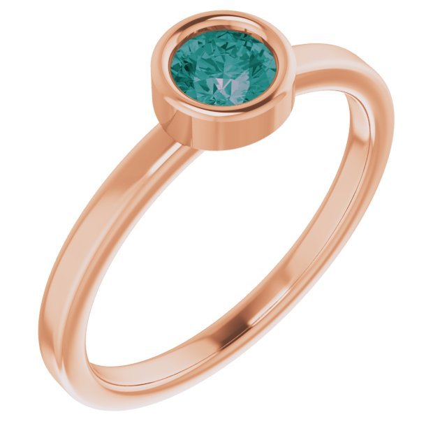 Chatham Created Alexandrite Ring in 14 Karat Rose Gold 4.5 mm Round Chatham Lab-Created Alexandrite Ring