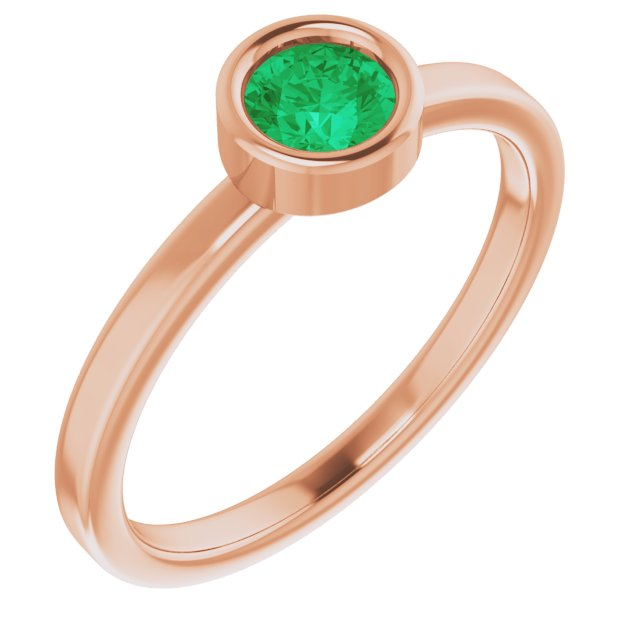Genuine Chatham Created Emerald Ring in 14 Karat Rose Gold 4.5 mm Round Chatham Lab-Created Emerald Ring