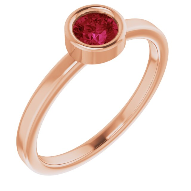 Chatham Created Ruby Ring in 14 Karat Rose Gold 4.5 mm Round Chatham Lab-Created Ruby Ring