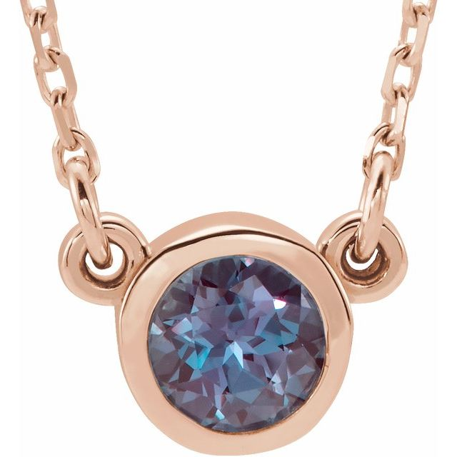 Genuine Alexandrite Pendant in 14 Karat Rose Gold 4 mm Round Alexandrite Bezel-Set Solitaire 16