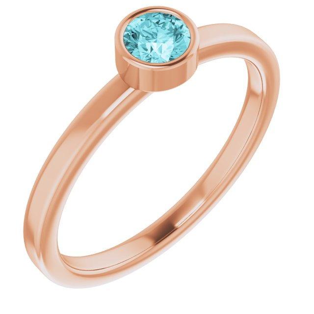 Genuine Zircon Ring in 14 Karat Rose Gold 4 mm Round Genuine Zircon Ring