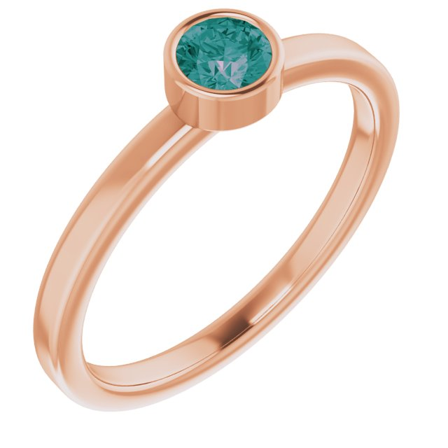 Chatham Created Alexandrite Ring in 14 Karat Rose Gold 4 mm Round Chatham Lab-Created Alexandrite Ring