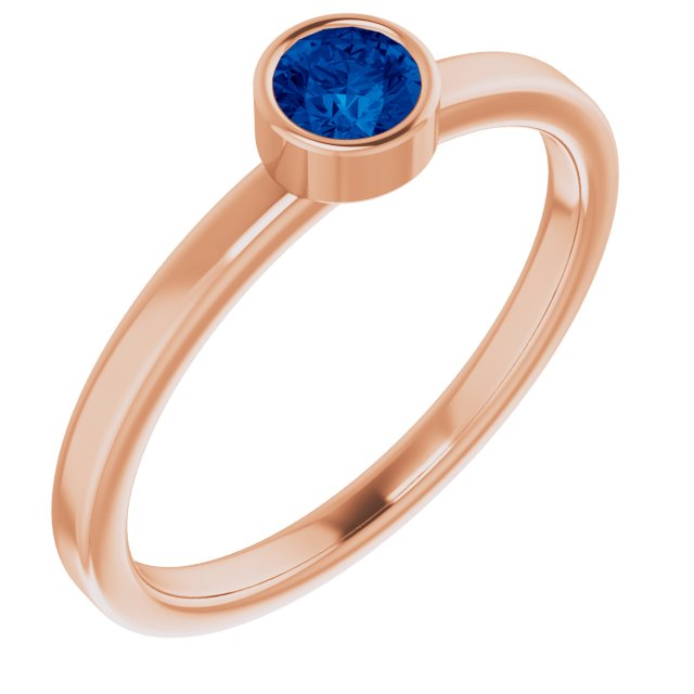 Genuine Chatham Created Sapphire Ring in 14 Karat Rose Gold 4 mm Round Chatham Lab-Created Genuine Sapphire Ring