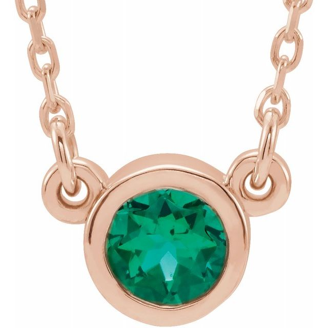 Chatham Created Emerald Pendant in 14 Karat Rose Gold 4 mm Round Chatham Lab-Created Emerald Bezel-Set Solitaire 16