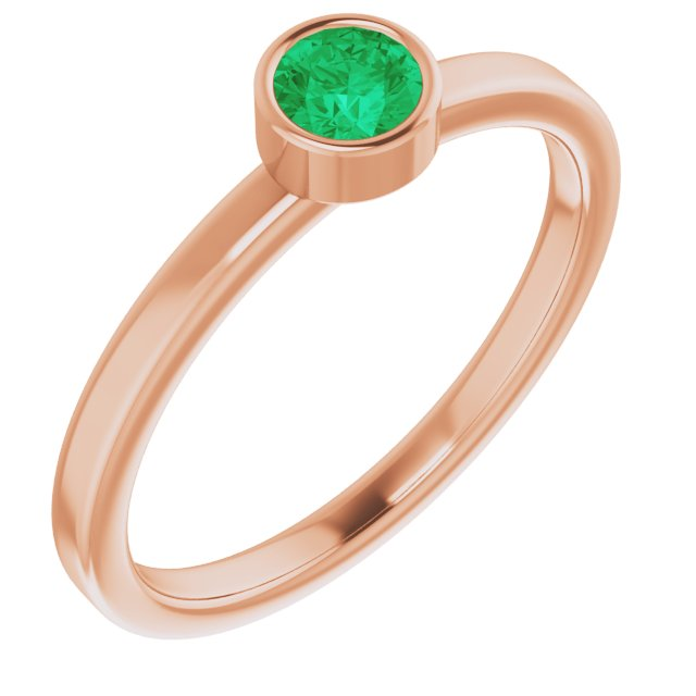 Genuine Chatham Created Emerald Ring in 14 Karat Rose Gold 4 mm Round Chatham Lab-Created Emerald Ring