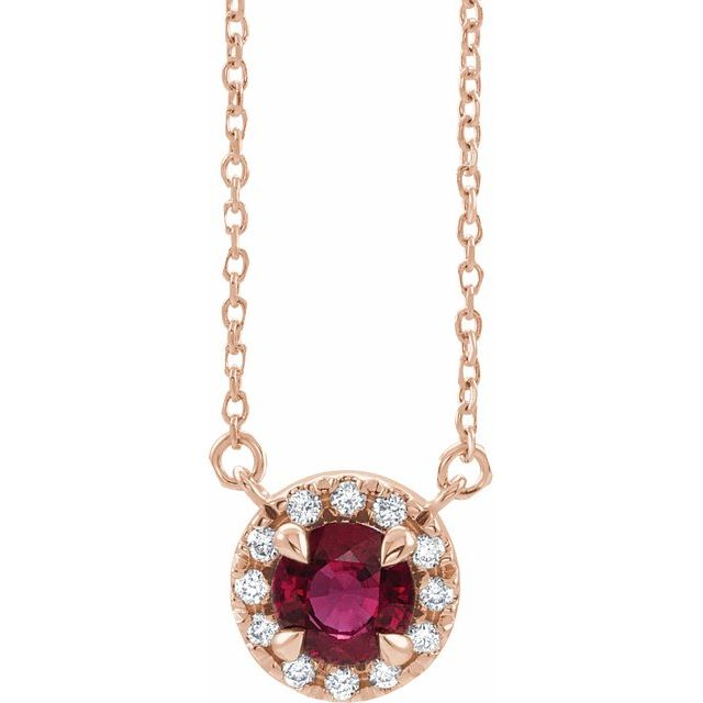 Chatham Created Ruby Necklace in 14 Karat Rose Gold 4 mm Round Chatham Lab-Created Ruby &.06 Carat Diamond 16
