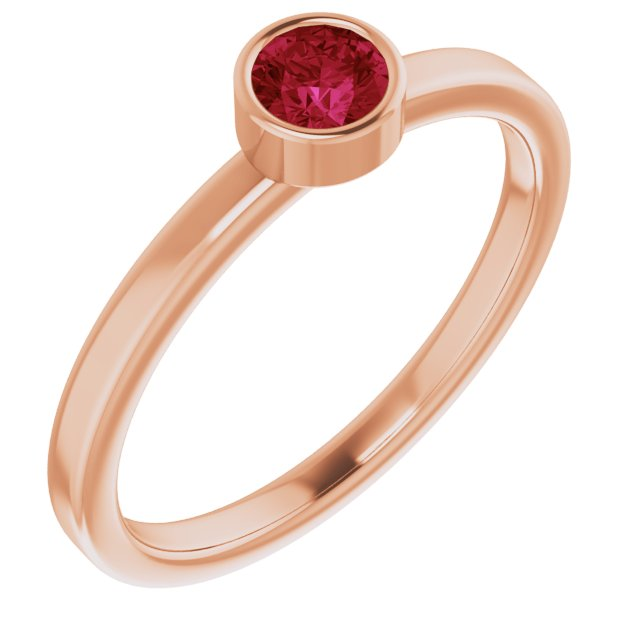 Chatham Created Ruby Ring in 14 Karat Rose Gold 4 mm Round Chatham Lab-Created Ruby Ring