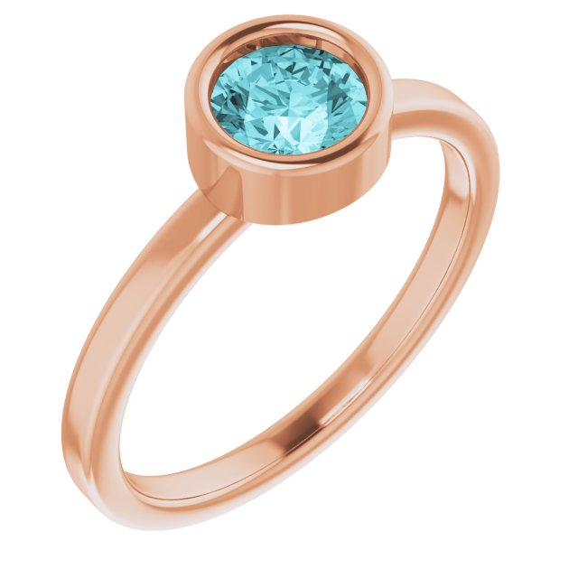 Genuine Zircon Ring in 14 Karat Rose Gold 5.5 mm Round Genuine Zircon Ring