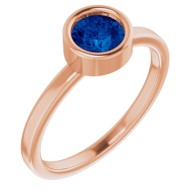 Genuine Chatham Created Sapphire Ring in 14 Karat Rose Gold 5.5 mm Round Chatham Lab-Created Genuine Sapphire Ring