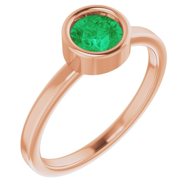 Genuine Chatham Created Emerald Ring in 14 Karat Rose Gold 5.5 mm Round Chatham Lab-Created Emerald Ring