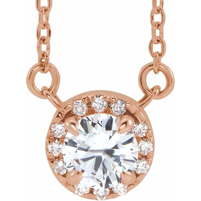 Genuine Sapphire Necklace in 14 Karat Rose Gold 5.5 mm Round White Sapphire & 1/8 Carat Diamond 18
