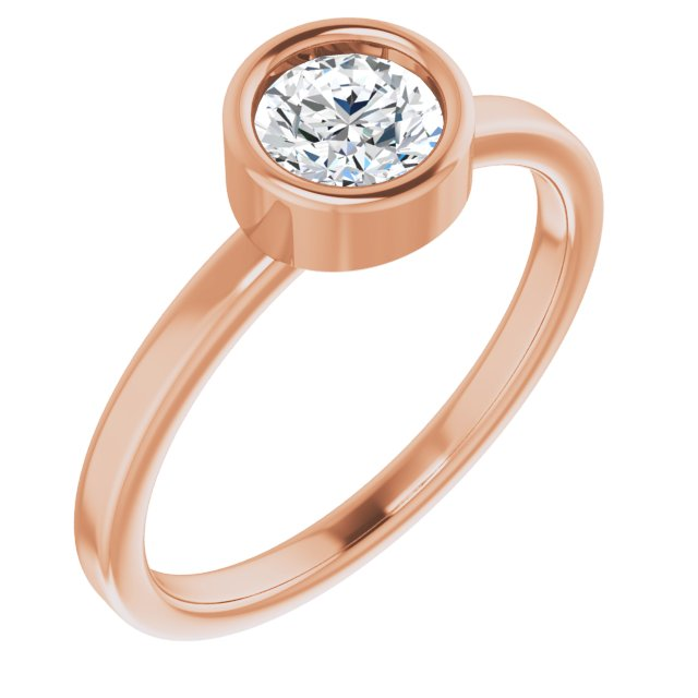 White Diamond Ring in 14 Karat Rose Gold 5/8 Carat Diamond Ring