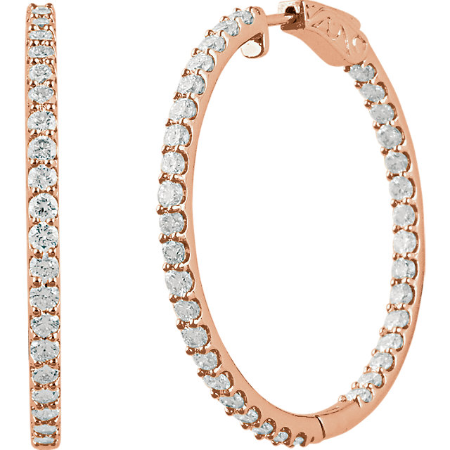 Easy Gift in 14 Karat Rose Gold 5 Carat Total Weight Diamond Inside/Outside Hoop Earrings