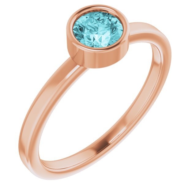 Genuine Zircon Ring in 14 Karat Rose Gold 5 mm Round Genuine Zircon Ring