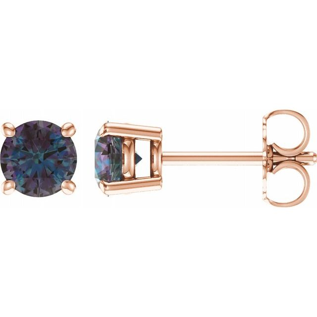 Genuine Chatham Created Alexandrite Earrings in 14 Karat Rose Gold 5 mm Round Chatham Created Alexandrite Earrings