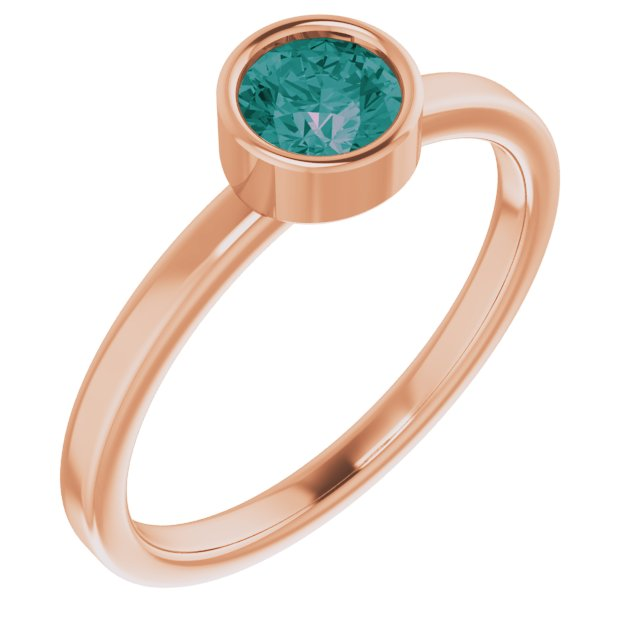 Chatham Created Alexandrite Ring in 14 Karat Rose Gold 5 mm Round Chatham Lab-Created Alexandrite Ring