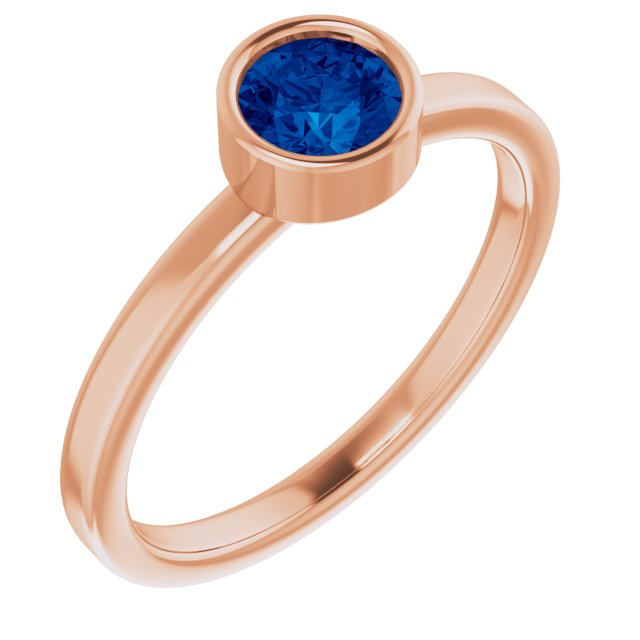 Genuine Chatham Created Sapphire Ring in 14 Karat Rose Gold 5 mm Round Chatham Lab-Created Genuine Sapphire Ring