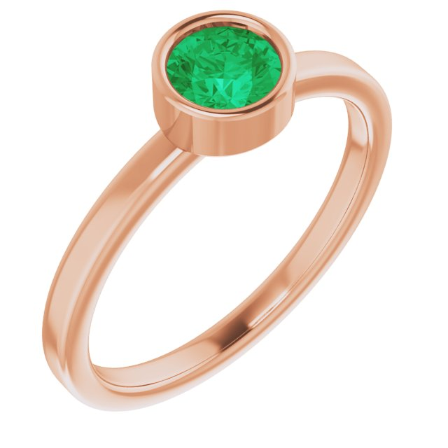Genuine Chatham Created Emerald Ring in 14 Karat Rose Gold 5 mm Round Chatham Lab-Created Emerald Ring