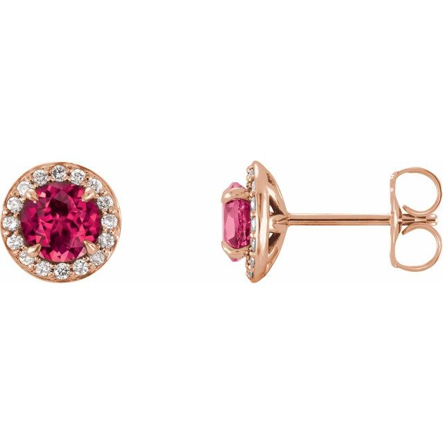 Chatham Created Ruby Earrings in 14 Karat Rose Gold 5 mm Round Chatham Lab-Created Ruby & 1/8 Carat Diamond Earrings