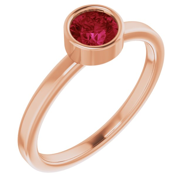 Chatham Created Ruby Ring in 14 Karat Rose Gold 5 mm Round Chatham Lab-Created Ruby Ring