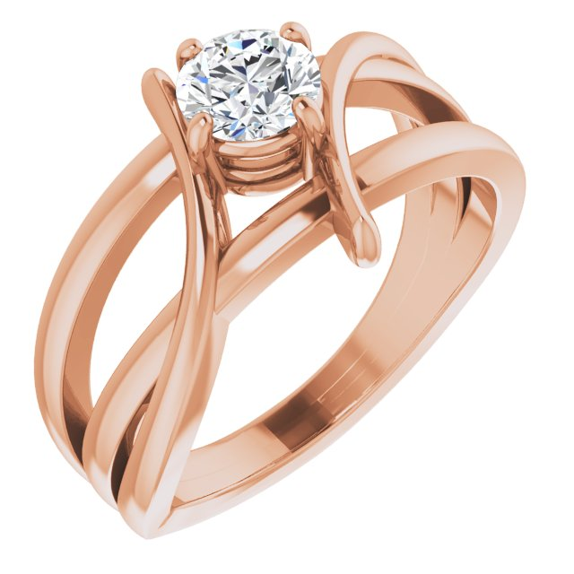 Created Moissanite Ring in 14 Karat Rose Gold 5 mm Round Forever One Moissanite Ring