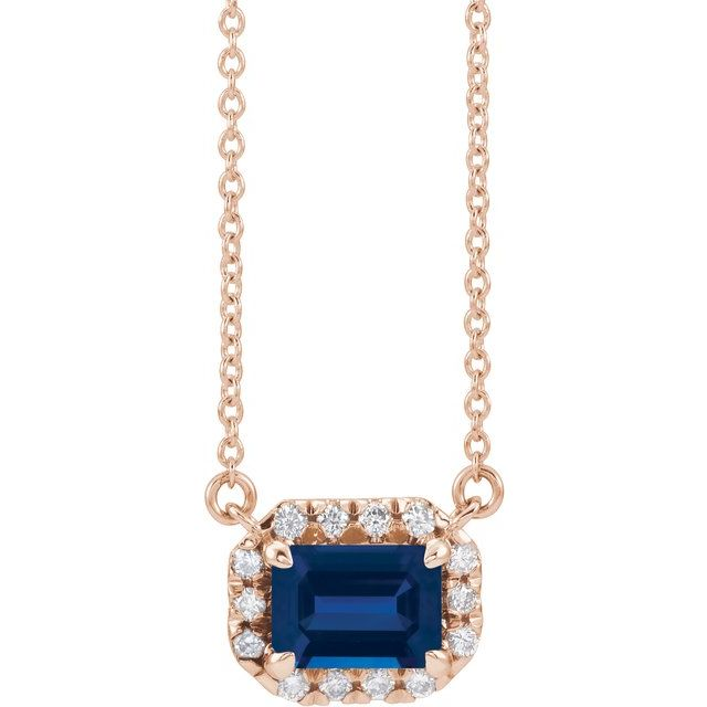 Genuine Sapphire Necklace in 14 Karat Rose Gold 5x3 mm Emerald Genuine Sapphire & 1/8 Carat Diamond 18