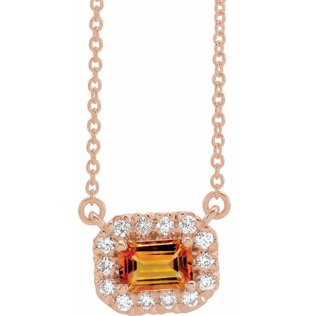 Golden Citrine Necklace in 14 Karat Rose Gold 5x3 mm Emerald Citrine & 1/8 Carat Diamond 16