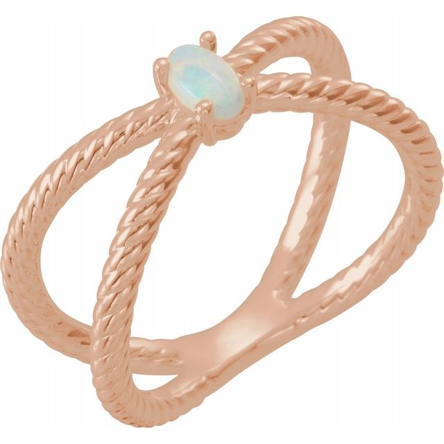 Natural Opal Ring in 14 Karat Rose Gold 5x3 mm Opal Criss-Cross Rope Ring