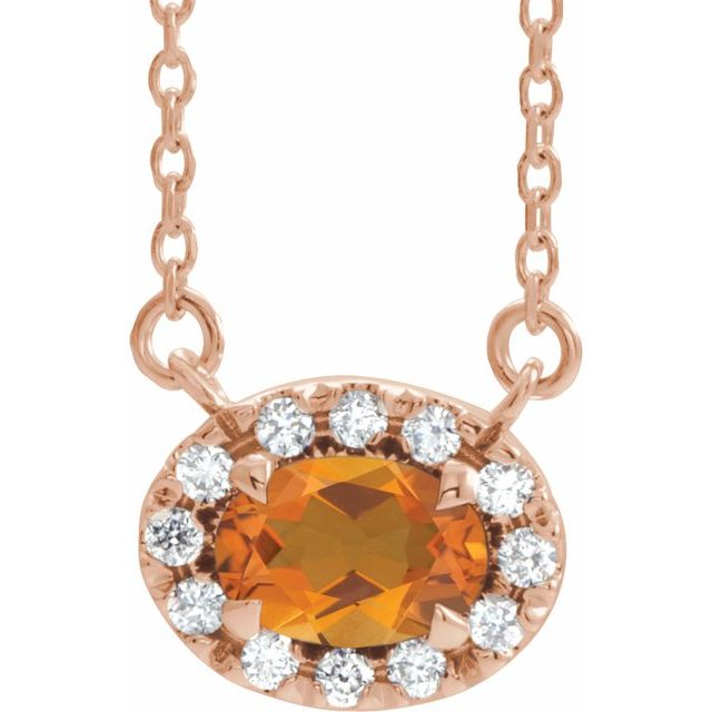 Golden Citrine Necklace in 14 Karat Rose Gold 5x3 mm Oval Citrine & .05 Carat Diamond 18