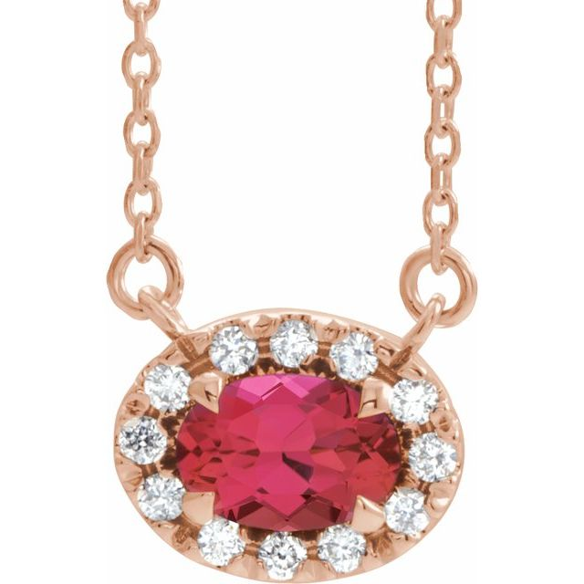 Chatham Created Ruby Necklace in 14 Karat Rose Gold 5x3 mm Oval Chatham Lab-Created Ruby & .05 Carat Diamond 18