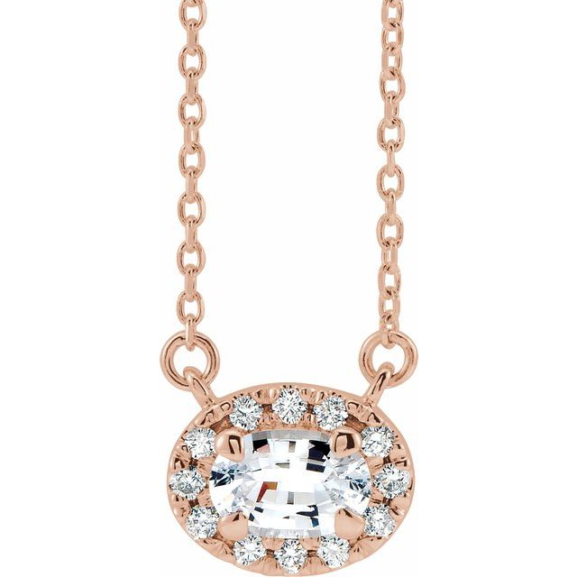 Genuine Sapphire Necklace in 14 Karat Rose Gold 5x3 mm Oval White Sapphire & .05 Carat Diamond 18