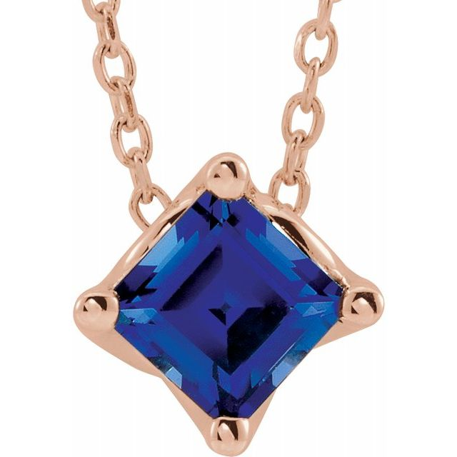 Genuine Chatham Created Sapphire Necklace in 14 Karat Rose Gold 5x5 mm Square Chatham Lab-Created Genuine Sapphire Solitaire 16-18