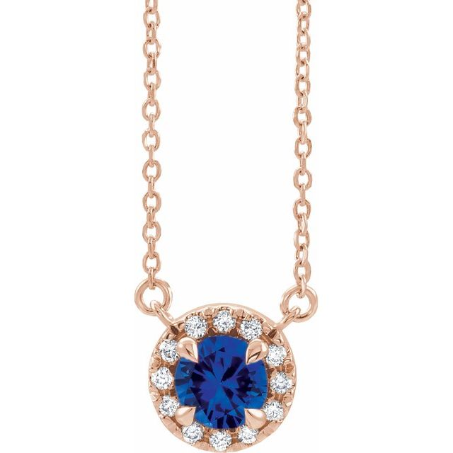 Genuine Sapphire Necklace in 14 Karat Rose Gold 6.5 mm Round Genuine Sapphire & 1/5 Carat Diamond 18