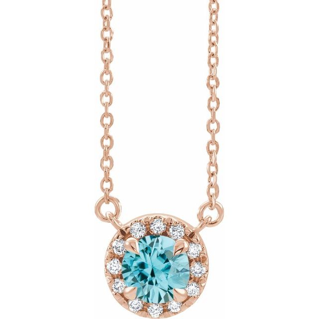 Genuine Zircon Necklace in 14 Karat Rose Gold 6 mm Round Genuine Zircon & 1/5 Carat Diamond 18