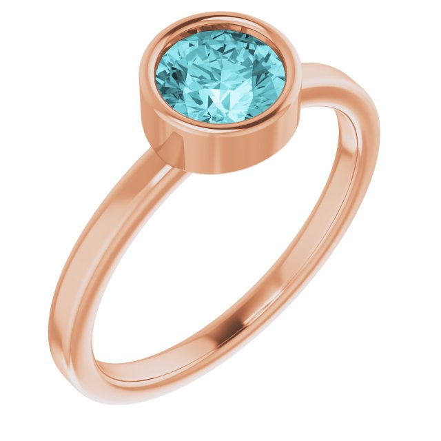 Genuine Zircon Ring in 14 Karat Rose Gold 6 mm Round Genuine Zircon Ring