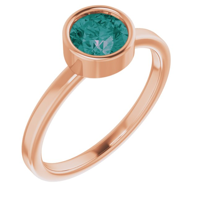 Chatham Created Alexandrite Ring in 14 Karat Rose Gold 6 mm Round Chatham Lab-Created Alexandrite Ring
