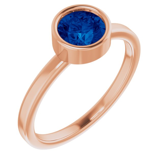 Genuine Chatham Created Sapphire Ring in 14 Karat Rose Gold 6 mm Round Chatham Lab-Created Genuine Sapphire Ring