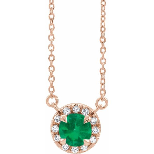 Chatham Created Emerald Necklace in 14 Karat Rose Gold 6 mm Round Chatham Lab-Created Emerald & 1/5 Carat Diamond 16