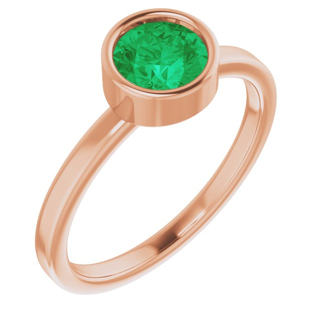 Genuine Chatham Created Emerald Ring in 14 Karat Rose Gold 6 mm Round Chatham Lab-Created Emerald Ring