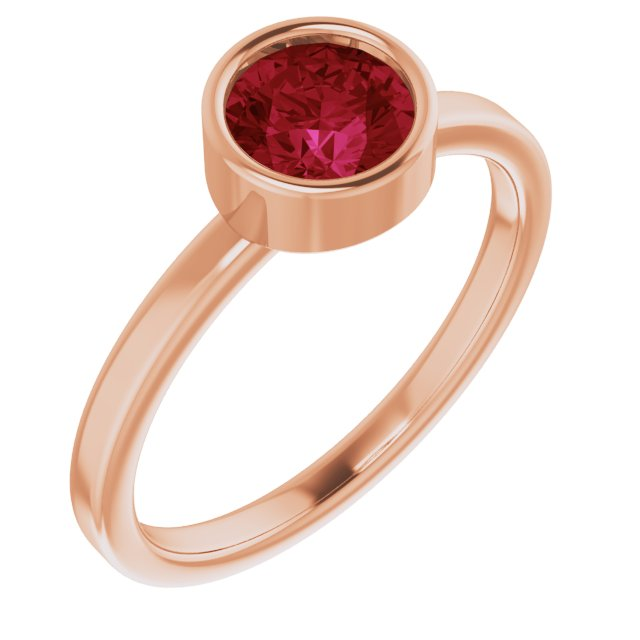 Chatham Created Ruby Ring in 14 Karat Rose Gold 6 mm Round Chatham Lab-Created Ruby Ring