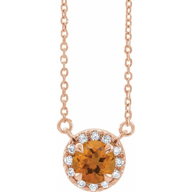Golden Citrine Necklace in 14 Karat Rose Gold 6 mm Round Citrine & 1/5 Carat Diamond 16