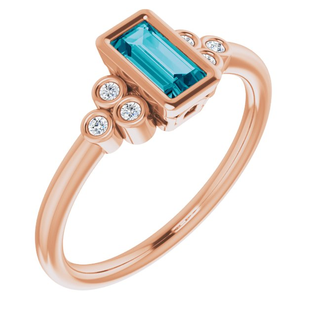 Genuine Topaz Ring in 14 Karat Rose Gold 6x3 mm Straight Baguette London Genuine Topaz & .06 Carat Diamond Ring